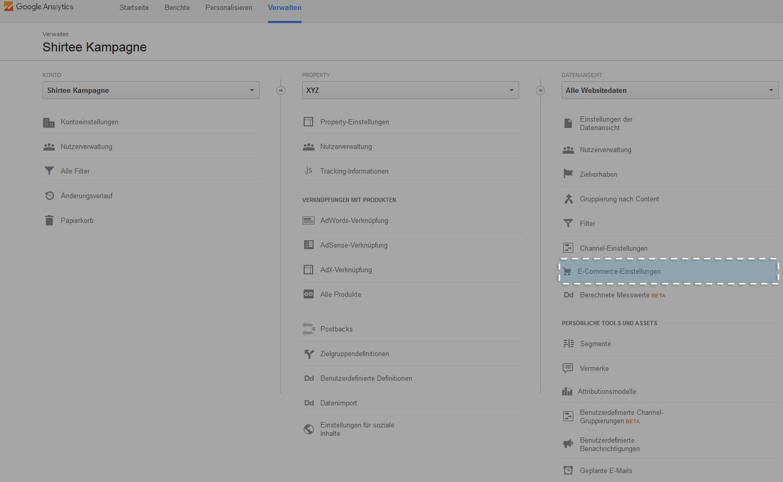 Button: E-Commerce-Einstellungen