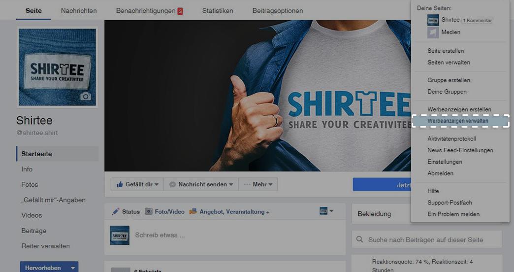 Button: Werbeanzeigen verwalten