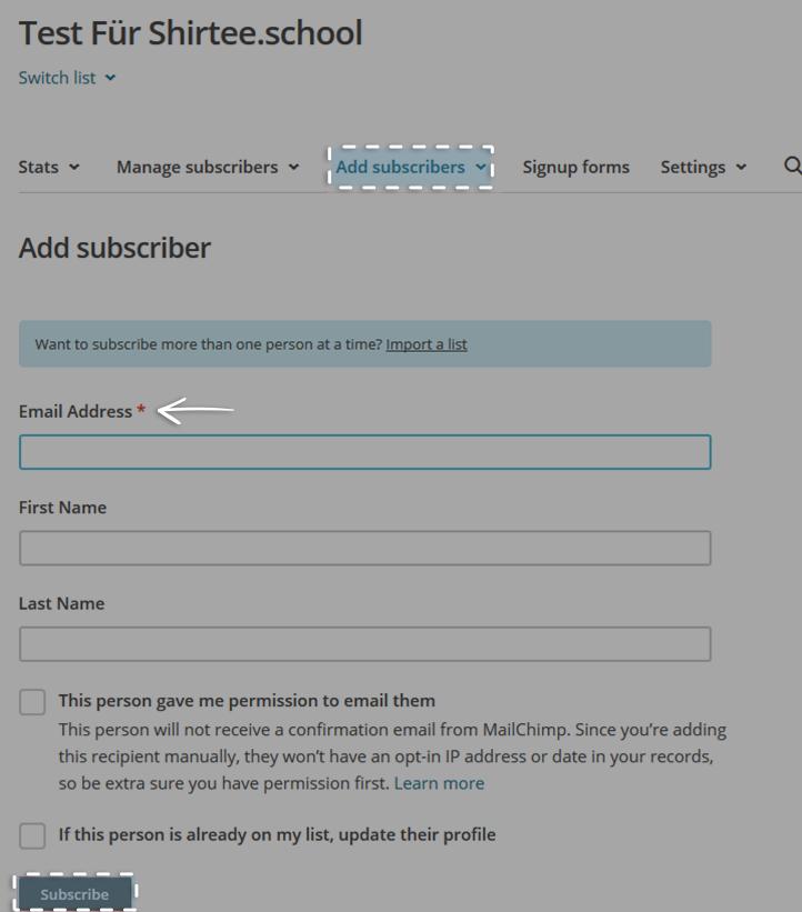 Empfänger Email