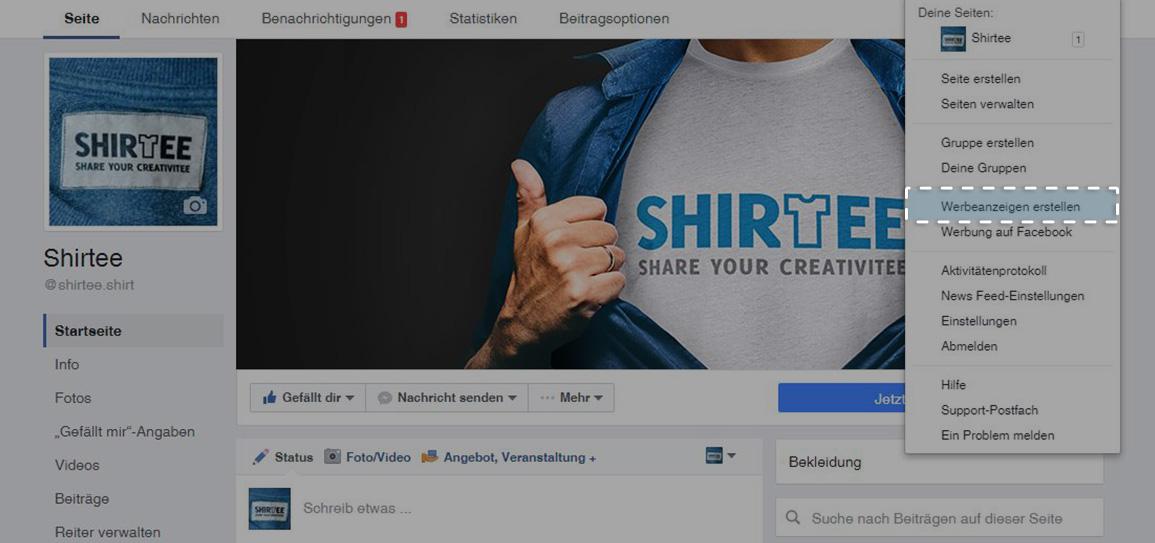 Button: Werbeanzeigen erstellen